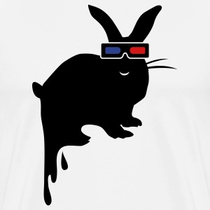White 3D BUNNY RABBIT dripping unhappy T-Shirts - Men's Premium T-Shirt