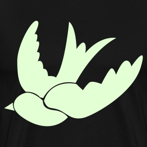Black ONE SWALLOW bird birds vintage tattoo T-Shirts - Men's Premium T-Shirt
