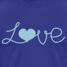 Royal blue LOVE written with a love heart  T-Shirts