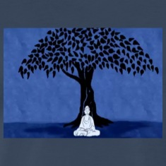 Buddha under bodhi tree at night