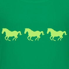 Kelly green Three Horses Galloping Kids' Shirts