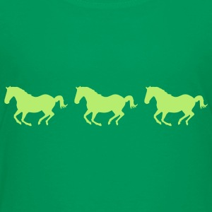 Kelly green Three Horses Galloping Kids' Shirts - Kids' Premium T-Shirt