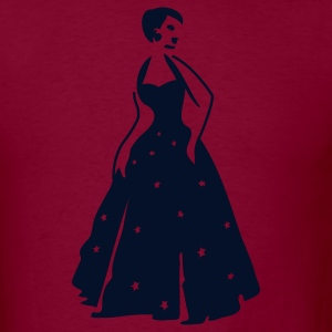 Burgundy beautiful vintage dancing woman with pretty stars on her formal gown T-Shirts - Men's T-Shirt