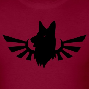 Burgundy German Shepard dog on a blaze T-Shirts - Men's T-Shirt