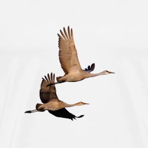 Cranes, Sandhill, Couple in Flight - Men's Premium T-Shirt