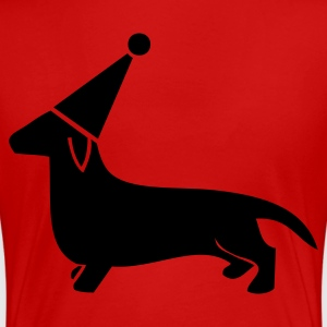 Red little dachshund miniture dog in a cute party hat Plus Size - Women's Premium T-Shirt