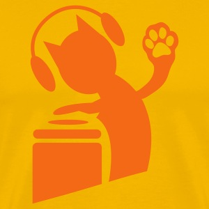 Gold DJ humor cat on the decks Hi Five with paws ! T-Shirts - Men's Premium T-Shirt