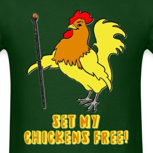 Set My Chickens Free! -- Moses Rooster PETA T-Shirts - Men's T-Shirt