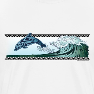 Dolphin riding the wave - Men's Premium T-Shirt