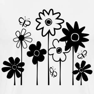 White Cute Funky Assorted Flowers With Butterflies--DIGITAL DIRECT PRINT T-Shirts - Men's Premium T-Shirt