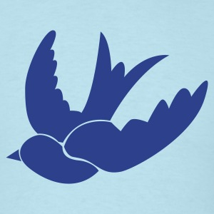 Sky blue ONE SWALLOW bird birds vintage tattoo T-Shirts - Men's T-Shirt