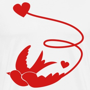 White one swallow with love heart vintage rockabilly influence T-Shirts - Men's Premium T-Shirt