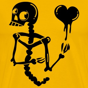 Gold CREEPY SKELETON with LOVE HEART T-Shirts - Men's Premium T-Shirt