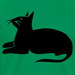 Kelly green siamese cat sphinx beautiful sitting T-Shirts - Men's Premium T-Shirt