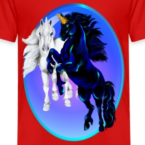 Two Unicorn Stallions - Oval - Toddler Premium T-Shirt