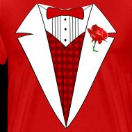 Design ~ Valentine's Day Tuxedo T-Shirt, Red Heart w/ Rose