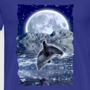 Crystallion Leaping Dolphin & Moon - Men's Premium T-Shirt