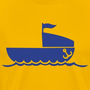 simple boat with anchor and waves NAVY T-Shirts - Men's Premium T-Shirt