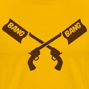 guns pistols crossed pistol with bang bang flags T-Shirts - Men's Premium T-Shirt
