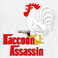 White Raccoon Assassin Rooster T-Shirts