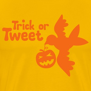Gold HALLOWEEN pumpkin and birdy Trick or TWEET T-Shirts - Men's Premium T-Shirt