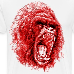 Gorilla Roaring Red ! - Men's Premium T-Shirt