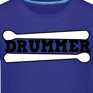 Turquoise drummer drums drum with drumsticks Kids' Shirts - Kids' Premium T-Shirt