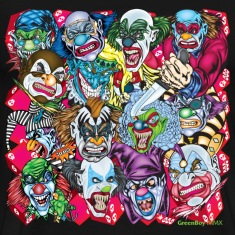 Black Evil Clowns All Over T-Shirts