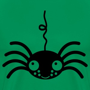 Kelly green spider  eight eyes cute hanging down T-Shirts - Men's Premium T-Shirt