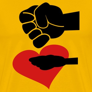 Gold clenching fist crushing heart T-Shirts - Men's Premium T-Shirt