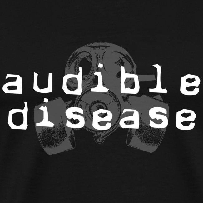 Audible Disease gas mask - white on black