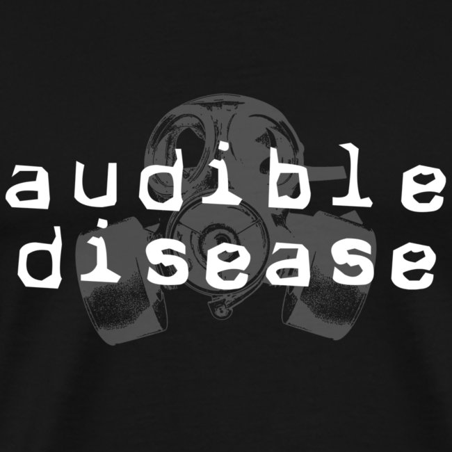 Audible Disease gas mask - white on black