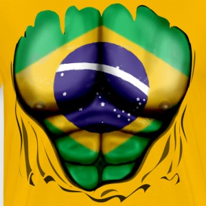 Brazil Flag Ripped Muscles, six pack, chest t-shirt - Men's Premium T-Shirt