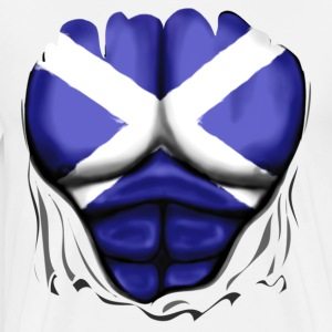 Scotland Flag Ripped Muscles, six pack, chest t-shirt - Men's Premium T-Shirt
