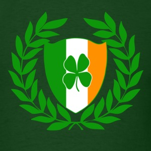 Irish Shield with Lucky Four Leaf Clover and Laurel Wreath - Men's T-Shirt