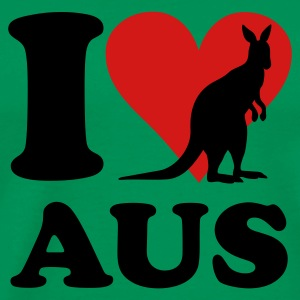 Kelly green I love AUS Kangaroo T-Shirts - Men's Premium T-Shirt