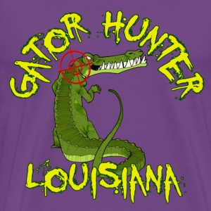 Purple Gator Hunter Louisiana T-Shirts - Men's Premium T-Shirt
