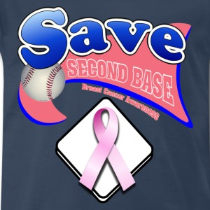 Navy Save Second Base Plate Pink Ribbon T-Shirts - Men's Premium T-Shirt