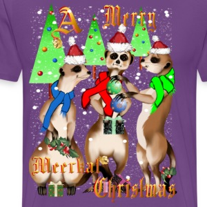 Meerkat Christmas and Snow - Men's Premium T-Shirt