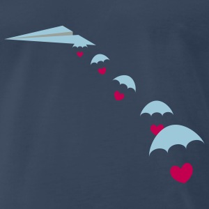 Paper Plane with Skydiver Hearts T-Shirts - Men's Premium T-Shirt