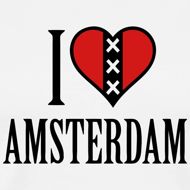 I Love Amsterdam Men's Heavyweight T-shirt