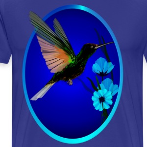 Green Hummingbird-Blue Flowers Oval - Men's Premium T-Shirt