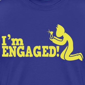 man on bended knee im engaged!  T-Shirts - Men's Premium T-Shirt