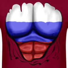Russia Flag Ripped Muscles, six pack, chest t-shirt