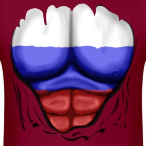 Russia Flag Ripped Muscles, six pack, chest t-shirt - Men's T-Shirt