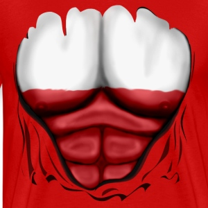 Poland Flag Ripped Muscles, six pack, chest t-shirt - Men's Premium T-Shirt
