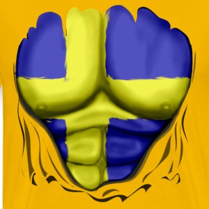 Sweden Flag Ripped Muscles, six pack, chest t-shirt - Men's Premium T-Shirt