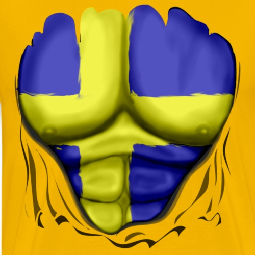 Sweden Flag Ripped Muscles, six pack, chest t-shir