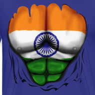 Design ~ India Flag Ripped Muscles, six pack, chest t-shirt
