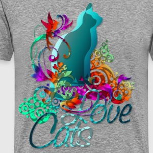 LOVE CATS with text | men's 3XL shirt - Men's Premium T-Shirt